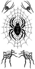 Halloween Death Spider 2 Temporary Fake Tattoos Waterpoof Prison Body Transfer