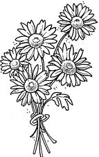 Unmounted Rubber Stamps, Flowers, Floral Stamps, Daisy Stamps, Bunch of Daisies