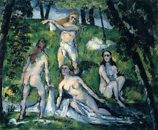 Oil painting Paul Cézanne - Female portraits naked young women bathers by brook