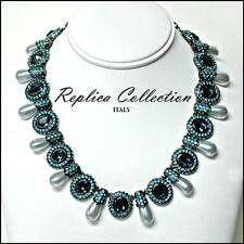 Faux  Blue Topaz & Pearl Drop Necklace by Replica Collection - Made in Italy