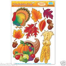 1 Sheet THANKSGIVING Party Decoration WINDOW CLINGS Cling TURKEY CORNUCOPIA