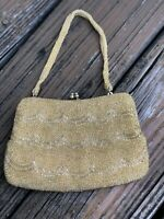 Vintage Gold Beaded Purse Handbag Evening Bag Clutch 50s 60s 1950s 1960s Korea
