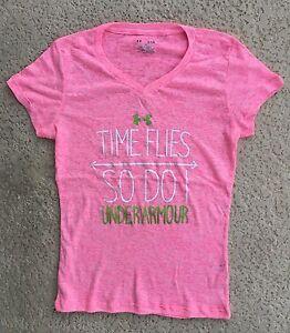 Womens Under Armour Shirt Burnout Soft Tee T-shirt Slogan Yoga Top S M L XL