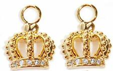 juicy crown charms cubic zirconia cz yellow gold plate pair pendant quality NWT