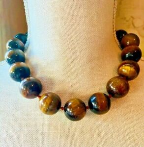 Turquoise Pearl and Sterling Necklace Garnet Tigers Eye