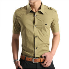 Fashion Mens Military Style Short Sleeve Casual Shirt Button Down Slim Fit Shirt