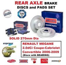 REAR BRAKE PADS DISCS + BEARING for RENAULT MEGANE 2.0dCi Convertible 2006-2009