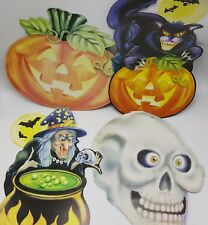Halloween CutOut Decoration Die Cut 2 Sided Lot 4 Skeleton Black Cat Witch