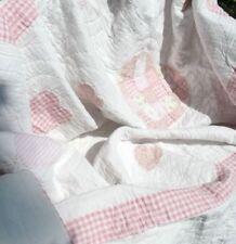Tagesdecke HERZCHEN 230x260 Rosa Weiß SHABBY Quilt Patchwork Plaid Landhausstil