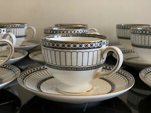 Wedgwood Colonnade Black Footed Cups and Saucers Set of 12