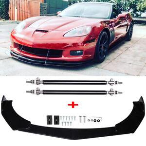 For Chevrolet Corvette Z06 ZR1 C6 Front Bumper Lip Splitter Spoiler + Strut Rods