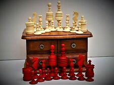 "RARE-ALLEMAND? ANTIQUE ""BARLEYCORN"" BONE chess set (King = 79 mm/3.1"") + Tour De..."