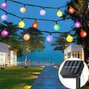 50LED Solar Lichterkette Außen Garten Kugel Solarleuchte Beleuchtung Party Dekor