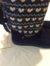 New Kids Uggs Purple Knit Bow Short Boots Youth Size 6