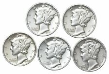High Grade - 5 Coin Mercury Silver Dime Lot 1940-1945 Collection *384