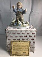 Dolphi Lisi Martin Figurine Boy Peace Sign Holding Flower-COA & Original Box