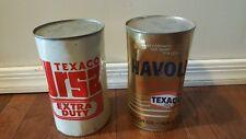2 Texaco Canada Ltd. URSA Heavy & Havoline Motor Oil 1 quart Cans Tin Metal FULL