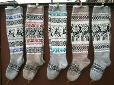 KNEE HIGH socks long LEG WARMERS homemade Russians  goat down yarn thick soft