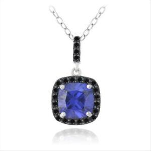 "925 Silver 2.75ct Simulated Tanzanite & Black Spinel Square Necklace, 18"""
