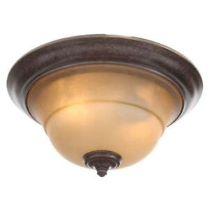 Hampton Bay Essex 2-Light Aged Black Flush Mount