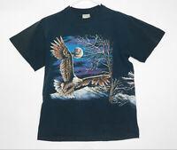 Vintage 80s Hazelwood Premo SS Black T Shirt Wrap Around Graphic Size Large