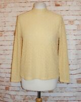 size 14 vintage 90s Japanese high neck top long sleeve stretch sheer lace yellow