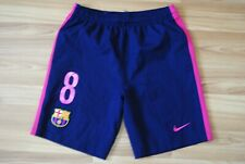 KIDS 12-13 YEARS L BARCELONA 2016/2017 AWAY FOOTBALL SOCCER SHORTS INIESTA #8