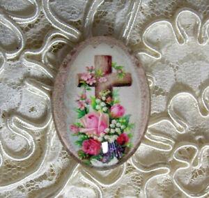 Easter Cross Floral 30X40mm Glitter Unset Handmade Glass Art Bubble Cameo Cab