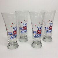 Vintage Spuds Mackenzie Bud Light Pilsner Beer Glasses 4 Set 1987 Barware