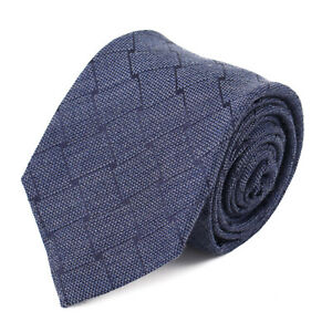Isaia Slate Blue Basket Check Patterned Wool and Silk Tie NWT