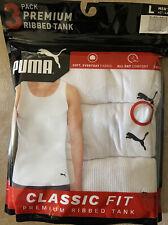 PUMA Men's 3 Pack Ribbed Tank Tops, White,