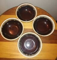 "Vintage Repoductions of Hull brown drip pottery 5"" Bowls set of 4 unsigned"