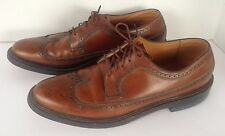 Mason Wingtip Oxford Dress Shoes Brown Leather Lace Up Punched Detail Size 9.5 A
