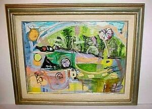 ALICE MUSICANT LISTED NJ ARTIST ABSTRACT PAINTING TITLED IN THE WOODS CA 1970'S