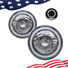 "7"" Inch Round White CCFL Halo Gray Lens Diamond Cut Chrome Headlights Angel Eyes"