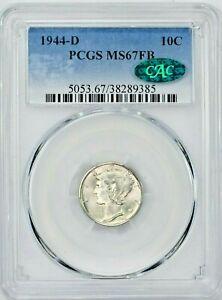 1944-D 10C Mercury Silver Dime PCGS MS67FB CAC (PM-9385) 99c NO RESERVE