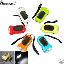 Rechargeable 3LED Hand Crank Dynamo Solar Power for Carabiner Camping Flashlight