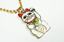 Maneki Neko Lucky Cat Japanese Asian Fortune Beckoning Pendant Necklace w/ Chain