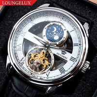Mens Flywheel Skeleton Automatic Wind Mechanical Move Moon Phase Wrist Watch