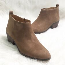 J. Crew Factory Womens Ankle Booties Sawyer Camel Brown Suede Boots Shoe Size 8