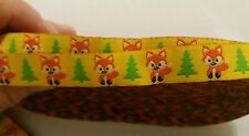 "One Metre Yellow Fox Jacquard Ribbon Trim 5/8""16mm 100% Polyester"