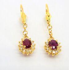 Oval Genuine Ruby diamonds halo earrings in 14k Gold