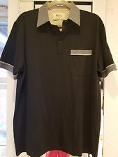 GABICCI MOD - Cotton Mix Polo Black & check -  p2p 22inches - MED - NWOT