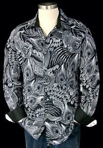 Robert Graham Samson & Delilah NWT $228 Black & White Peacock Sport Shirt XL