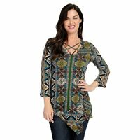 One World Printed Bell Sleeve Pointed Hem Lattice Neck Tunic Olive 1X A434968