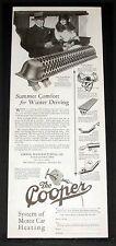 1927 OLD MAGAZINE PRINT AD, COOPER CAR HEATER, SUMMER COMFORT, WINTER DRIVING!