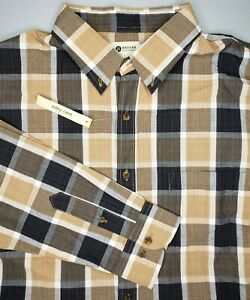 Haggar Men's Easy Care Button L/S Shirt Brown White Black Plaid Size Large NWT