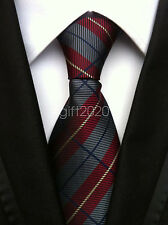 Mens Classic 100% Silk Tie Necktie Striped RED JACQUARD Neck Ties