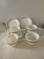 Vintage Corelle Pyrex Butterfly Gold Cup And Saucer Set Of 4