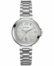 Bulova Women's Diamond Accents Date Display Mother of Pearl 30mm Watch 96P149